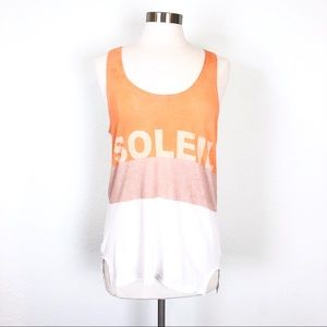 Madewell Soleil Orange White Semi Sheer Tank Top